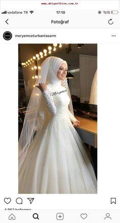 Wedding dress, - New Dress Muslimah Wedding Dress, Muslim Wedding Dresses, Muslim Brides, Wedding Dress Sleeves, Princess Wedding Dresses, Bridal Dresses, Dress Wedding, Bridal Hijab, Wedding Hijab