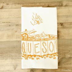 "Queso is here in all its cheesy spicy goodness. Theyre one of my many fun food illustrations.  100% cotton tea towel, 20"" x 28"", hand-screenprinted with permanent non- toxic water-based ink with yellow/green stripes. Comes packaged folded with a paper band. Machine wash & dry cool. Will shrink in a hot wash.  To see the full line of single dish towels, click here: http://www.etsy.com/shop/fiskandfern?section_id=5123432"