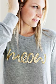 Sequin Phrase Sweatshirt (a super easy DIY!) abeautifulmess.com
