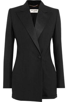 Saint Laurent - Satin-trimmed Wool And Mohair-blend Playsuit - Black - FR Blazer Outfits For Women, Jean Outfits, Black Wool, Black Satin, Satin Noir, Black Playsuit, Jackets For Women, Clothes For Women, Sweater Jacket