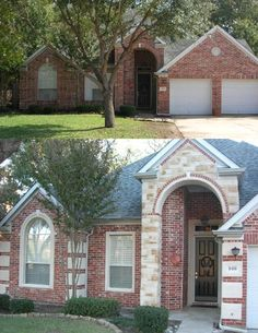 Love this exterior face lift! Stone accents with brick. Exterior Walls | Cre8stone