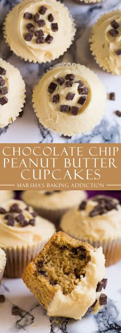 Chocolate Chip Peanut Butter Cupcakes | marshasbakingaddiction.com @marshasbakeblog