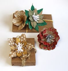 Learn how to create beautiful, unique and free gift wrap with these unique paper flower gift toppers made from grocery bags! Free template included!