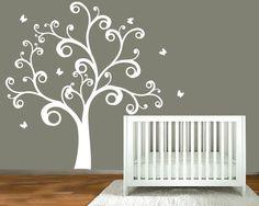 Childrens wall decal -  nursery tree - vinyl wall art decor. $99.00, via Etsy.