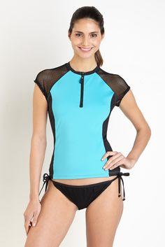 e458102357 Nautica shortsleeved rashguard with mesh detail Beachwear For Women