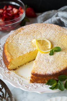 This ricotta cake is perfectly rich, it has a good density (… Lemon Ricotta Cake. This ricotta cake is perfectly rich, it has a good density (similar to muffins), it's amazingly moist, and perfectly lemony. Lemon Desserts, Lemon Recipes, Just Desserts, Delicious Desserts, Dessert Recipes, Easter Desserts, Quick Recipes, Easter Cake, Cupcakes