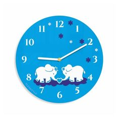 Detske nastenne hodiny so slonikmi Clock, Wall, Watch, Clocks, Walls
