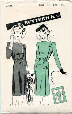 1940s Vintage Dress Pattern Butterick 2826 by FloradoraPresents, $48.00
