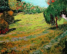 Sunny Lawn in a Public Park, oil on canvas, Collection Merzbacher, Post-Impressionism, Vincent van Gogh Art Van, Van Gogh Art, Vincent Van Gogh, Desenhos Van Gogh, Van Gogh Pinturas, Weeping Willow, Van Gogh Paintings, Dutch Painters, Dutch Artists