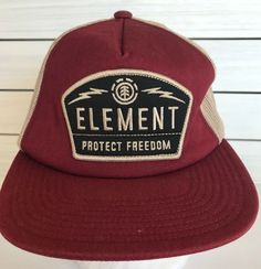 83bd1e59b056e Element Protect Freedom Skateboar Mesh Trucker Hat Cap Red Tan Snapback  Patch  Element  TruckerHat