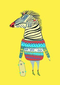 Zebra Dude. Limited edition art print by Illustrator Ashley Percival. Kids Print, Poster.