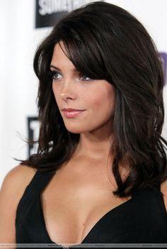 Medium Short Hairstyles Brunette Bangs