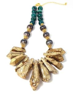 Check out this Check out this Gold Titanium Quartz, Brown Agate, Green Aventurine Chunky Gemstone Statement Necklace by #KMagnifiqueDesigns on Etsy.com!