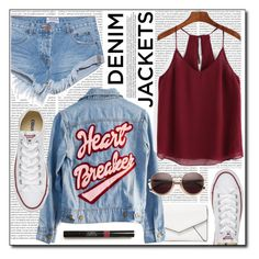 """""""Wardrobe Staples - Denim Jackets (#107)"""" by laa-douleur-exquise on Polyvore featuring Oris, Converse, LULUS, High Heels Suicide, One Teaspoon, Wildfox, denimjackets and WardrobeStaples"""