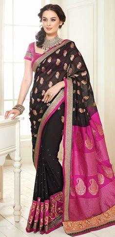 USD 74.74 Evelyn Sharma Black Art Silk Saree  35929