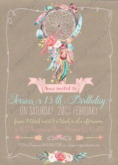 Boho Chic Invitation Birthday or Baby INSTANT DOWNLOAD