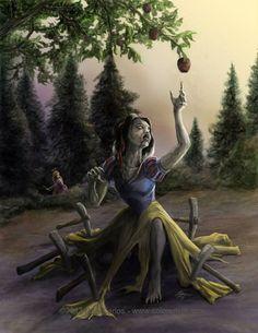 Zombie Princess Snow White - by Rob Carlos. Okay so, Rapunzel is a zombie hunter. Zombie Disney, Disney Princess Zombie, Princesas Disney Zombie, Creepy Disney, Disney Horror, Zombie Cartoon, Dark Fantasy Art, Fantasy Kunst, Disney E Dreamworks