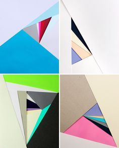 creating pattern and shapes by layering up edges of coloured paper