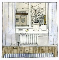 Love how the perspective is wrong. e.g. the wood floor. Love this style of artwork.