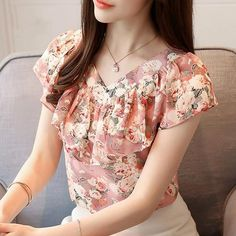 2018 summer blouses women shirts chiffon fashion plus size floral print women's tops short sleeve women clothing blusas 0464 30