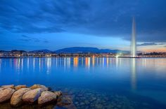 Geneva panorama with famous fountain, Switzerland, HDR by Elenarts - Elena Duvernay photo Places In Switzerland, Geneva Switzerland, Swiss Switzerland, Geneva City, Skyline, Camping, Urban City, Famous Places, Hdr