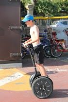 having a ride on a segway.