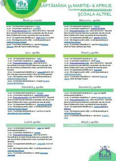 Școala Altfel activități 31 martie – 6 aprilie #StămAcasă – Mămica Autentică Martie, School Worksheets, Nasa, Calendar, Astronomy, Life Planner