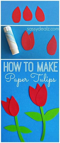 How to Make Paper Tulips - Easy Kids Craft - Crafty Morning How to Make Paper Tulips kids craft or for a Mother's Day card Want great ideas about arts and crafts? Easy Crafts For Kids, Crafts To Do, Art For Kids, Arts And Crafts, Craft Activities, Preschool Crafts, Easter Crafts, Spring Crafts, Holiday Crafts