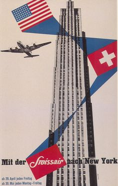 Swiss Air poster from the Poster Retro, Poster Ads, 1950s Posters, Advertising Poster, Art Posters, Art Vintage, Vintage Ads, Vintage Images, Retro Graphic Design