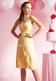 CHIFFON SWEETHEART A LINE EMPIRE WITH RUCHING BRIDESMAID DRESS