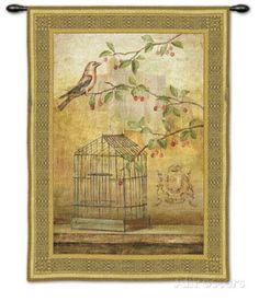 Oiseav Cage Cerise I Wall Tapestry by Fabrice De Villeneuve at AllPosters.com