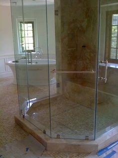 Frameless Shower Door Half Circle Custom Floor To Ceiling Double Door Entry  Enclosure In Polished Brass