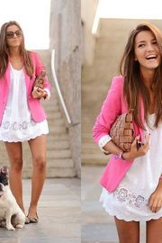 Love the pink blazer and the overall look of this outfit!