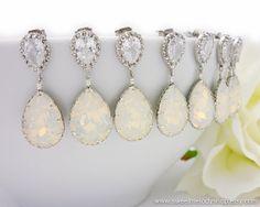 Wedding Bridesmaid Earrings Bridal Jewelry Bridesmaid Jewelry White Opal Swarovski Crystal Tear Drops with Cubic Zirconia Earrings