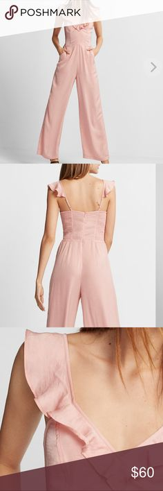 V-Neck Wide Leg Ruffle Jumpsuit Rose Blush This jumpsuit is set to wow at parties and evenings on the town thanks to a sexy deep v-neck, trendy ruffle accents and a dramatic wide leg. Made from silky, whisper-light fabric for a barely-there feel. Express Pants Jumpsuits & Rompers