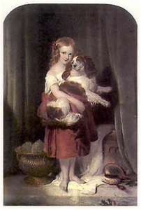 Painting of Queen Victoria with her dog Dash