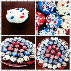 4th of July brownie bites platter. Use a box brownie mix. Put into greased or lined mini muffin pan. Bake at 350 for half of the recommended time. Frost with red, white, and blue frosting and top with sprinkles. I served it on a stars and stripes platter I got for $1 at my local grocery store! Entire platter was under $5!!