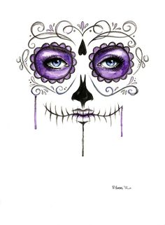 Purple Sugar Skull Drip Painting Watercolor Print