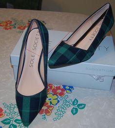 ba1a8c265f NEW In Box SOLE SOCIETY green / blue plaid fabric pumps heels sz. 8.5 M NEW  Desi | eBay