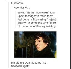 Hahaha my top choice to post it to was Martin Freeman haha Sherlock Bbc, Sherlock Fandom, Sherlock Humor, Benedict Sherlock, My Tumblr, Tumblr Funny, Funny Memes, Hilarious, Martin Freeman