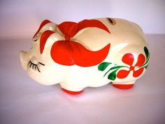 Vintage Piggy Bank- How cute is this? Money Jars, Money Box, Wooden Piggy Bank, Pig Bank, Penny Bank, Miss Piggy, This Little Piggy, Flying Pig, Pink Elephant
