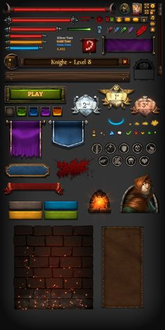 采集图片 Kingsroad UI Elements game user interface gui ui | Create your own roleplaying game material w/ RPG Bard: www.rpgbard.com | Writing inspiration for Dungeons and Dragons DND D&D Pathfinder PFRPG Warhammer 40k Star Wars Shadowrun Call of Cthulhu Lord of the Rings LoTR + d20 fantasy science fiction scifi horror design | Not Trusty Sword art: click artwork for source