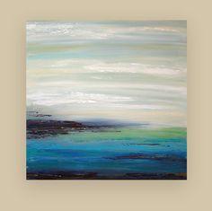 "Art Abstract Acrylic Painting Original on Canvas Titled: BLUE TIDE 36x36x1.5"" by Ora Birenbaum on Etsy, $365.00"