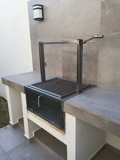 Stainless Santa Maria Countertop Drop In Frame with Height Adjustable Rotisserie by JD Fabrications Outdoor Barbeque, Build Outdoor Kitchen, Outdoor Kitchen Design, Barbecue Four A Pizza, Parrilla Exterior, Open Fire Cooking, Brick Bbq, Diy Grill, Bbq Area
