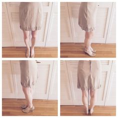 Tan Fringe Skirt Zipper back. 94% polyester and 4% spandex. Size large, but fits more like a small. Very stretchy material so flexible as to size. Worn and a bit wrinkled, but in decent condition! ENT Skirts Mini