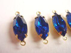 Vintage Capri Blue Navette Rhinestones 15x7 by brassgoldbeads