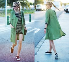 Marta M - Sheinside Cardigan, Sheinside Dress, Primark Sneakers - Striped dress