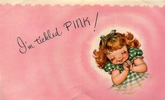 My baby announcement almost looks exactly like this from the fifties - vintage card in my favorite color