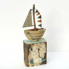 little boat sculpture - driftwood art