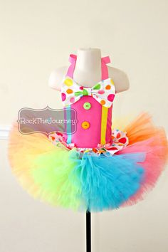 Pink Polka Dot Clown Tutu Outfit - Circus Carnival Rainbow Birthday Party Candy…